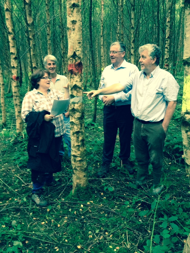 Dr. Ellen O Connor, Myles Sterling (woodland owner), Mr. Tom Hayes TD (Minister of State DAFM), John Madden Forest Service - July 2014