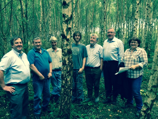 Joe Hannigan, Gerry Carroll, Myles Sterling (woodland owner), Geremy Sterling, John Madden (Forest Service), Mr. Tom Hayes TD (Minister of State DAFM), Dr. Ellen O Connor  - July 2014